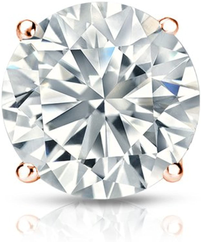 0.08cttw, White, VS1-VS2 Screw-Back Bezel Set Diamond Wish 10k Gold Round SINGLE Diamond Stud Earring