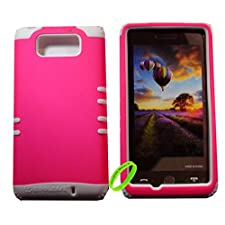 Cellphone Trendz High Impact Hybrid Rocker Case for Motorola Droid Maxx XT1080M / Droid Ultra XT1080 – White Silicone with Hard Barbie Pink Design