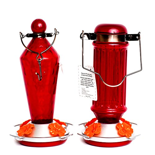 Ultimate Innovations Set of 2 Red Glass Hummingbird Feeders with Hanging Hardware & Recipe