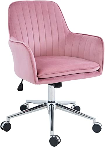 Five Stars Furniture Home Office Chair,Plush Velvet Desk Chair,Modern,Comfortble,Nice Task Chair Rose Pink
