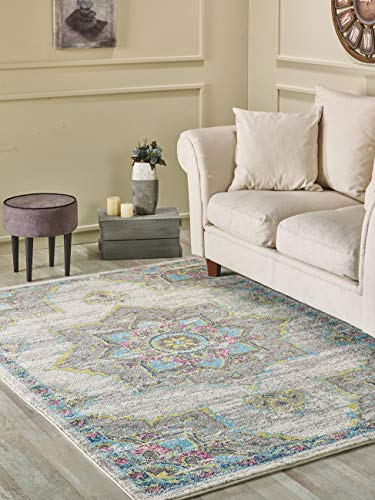 (Golden Rugs Multicolor Traditional Area Rug 4x6 Oriental Medallion Red Hand Touch Vintage Distressed Abstract Texture for Bedroom Living/Dining Room 7466 Melody Collection (4x6, Grey)