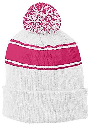 Sport-Tek Hombre Stripe Pom Pom Beanie White/ Pink Raspberry