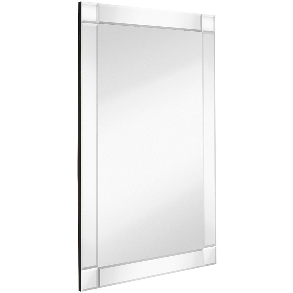 """Hamilton Hills Large Squared Corner Beveled Mirror on Mirror Frame 