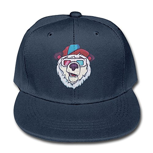 Ice Cold Polar Bear Youth Unisex Adjustable Flat Hat Bill Baseball Hats Outdoor Sports In 4 Colors (Eine Brille Für Baseball)
