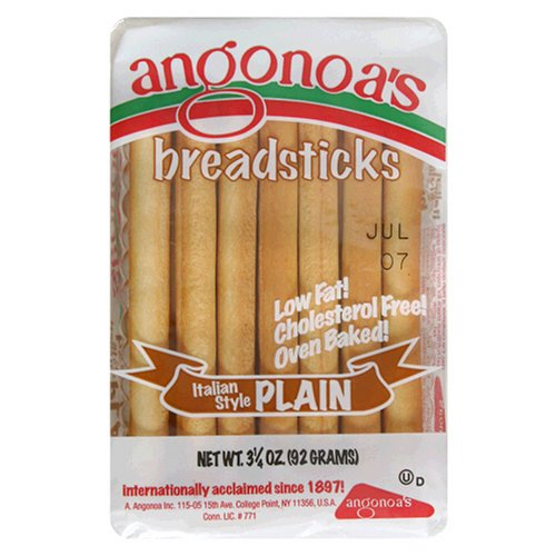 Angonoa's Breadsticks, Plain, 3.25-Ounce Bags (Pack of 12)