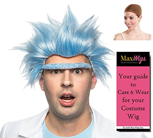 Mad Grandpa Color Sky Blue - Enigma Wigs Rick Eyebrow Set Wild Scientist Unibrow Morty Style Bundle w/Cap, MaxWigs Costume Wig Care -