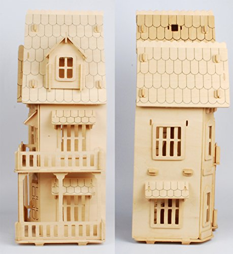 17 wooden dream dollhouse 6 rooms diy kits miniature doll for Dream wooden house