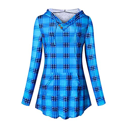 ZOMUSAR Women Plaid Hoodie Long Sleeve Sweatshirt Drawstring Pullover Top with Pocket – DiZiSports Store