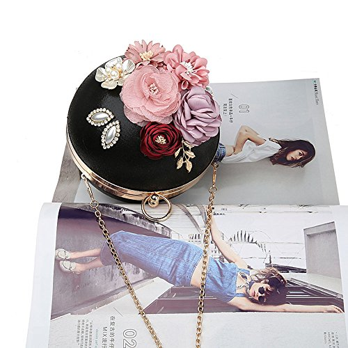 2017 Clutch Fashion Black Metal Clutch Evening Bag Eleoption Chain Handbag for with Banquet Wedding Floral Wedding Party Flower Spherical Bags Prom Purses PBw5nqd