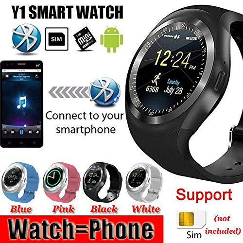 DAIJIA Smart Watch Bluetooth Phone Mate Round Screen for IOS Android Phone LOT (Blue)