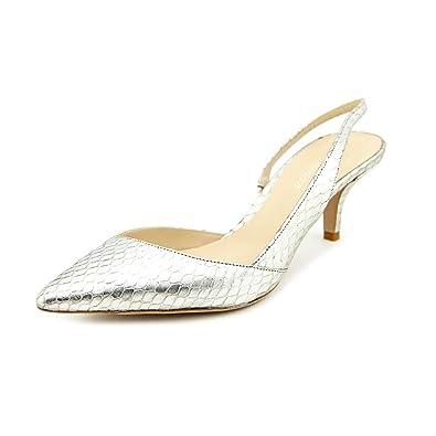 2df9b7ba2e4 Delman Britt Womens Size 6 Silver Animal Print Leather Slingbacks ...