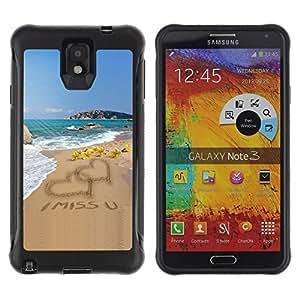 Suave TPU GEL Carcasa Funda Silicona Blando Estuche Caso de protección (para) Samsung Note 3 / CECELL Phone case / / I Miss U Sand Love Heart Beach Ocean Summer /