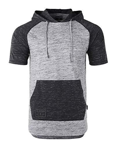 ZIMEGO Men's Short Sleeve Pullover Hoodie Lightweight Soft Jersey Hooded T-Shirt Dark Grey/Black (Hoodies Short For Men Sleeve)