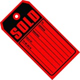 Ship Now Supply SNG2525 ''Sold Tags'', 10 Point Card Stock, 4 3/4'' x 2 3/8'', 4.75'' width, 2.375'' Length, Red/black (Pack of 1000)