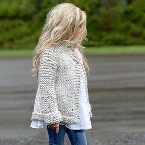 ZLOLIA Baby Clothes Set Autumn Winter Toddler Girls Coat Tops Cardigan Solid Outfit Button Knitted Sweater For 2-8 Year Kids (90, Beige) by ZLOLIA (Image #2)