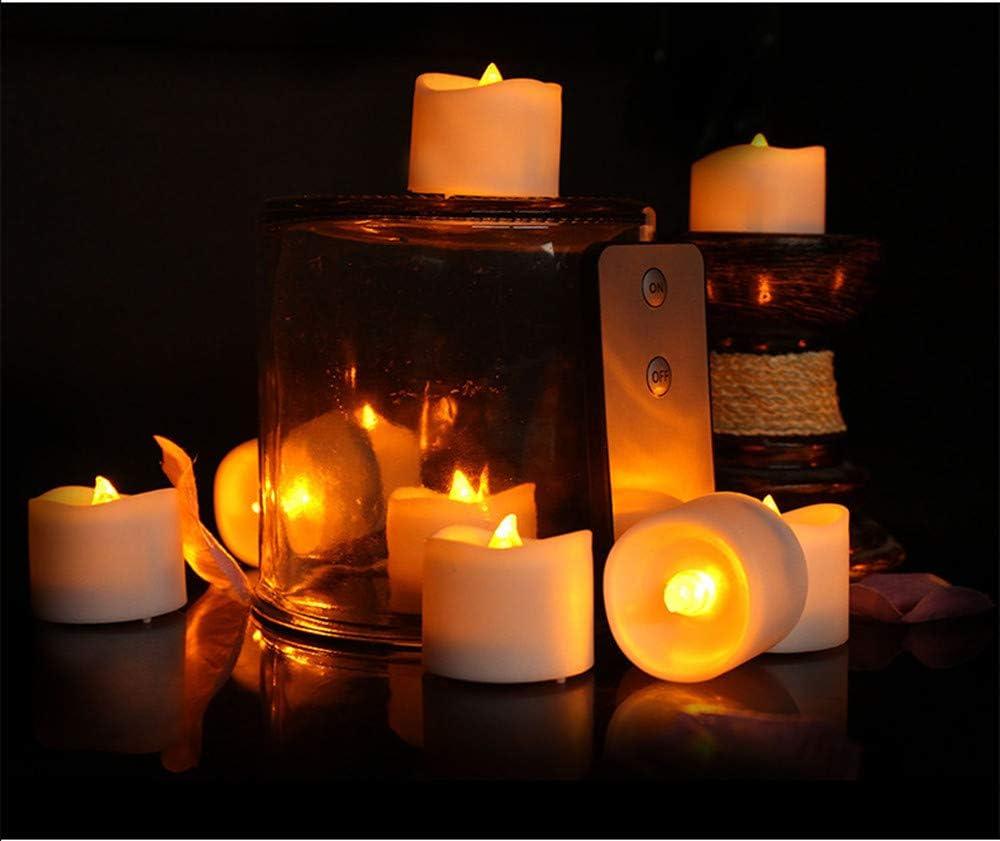 pour d/écoration par exemple F/ête table C mariage EXQULEG Lot de 12 bougies LED sans flamme fonctionnant /à piles en cire v/éritable avec t/él/écommande