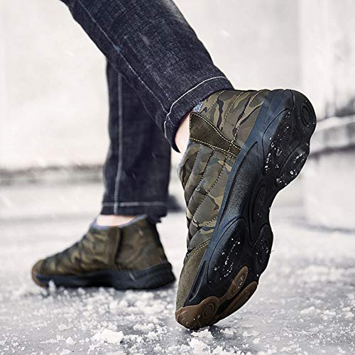 Mens Camouflage Slip-on Ankle Boots Fully Fur Lined Snow Boots Winter Warm Cotton Shoes by Weweya (Image #7)