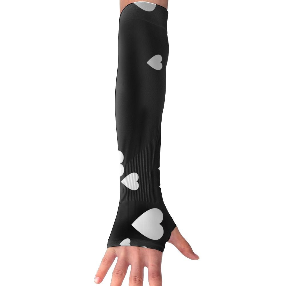 Mossey Raymond Unisex Outside Athletic Hand Cover Cooling UV Protection Arm Sleeves - 1 Pair, Falling White Hearts, Black