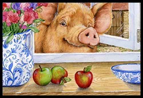 Caroline's Treasures CDCO0352MAT Pig trying to reach the Apple in the Window Indoor or Outdoor Mat, 18''H x 27''W, Multicolor