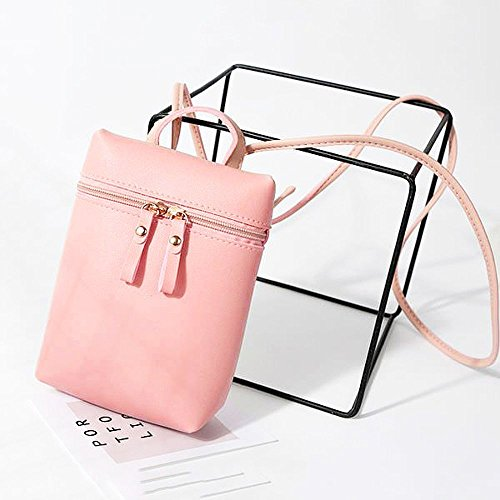 Leather Shoulder Pouches Keys Messenger Bags Bag Crossbody LAPOPNUT Mini Body Bag Shopping Coins for Ladies Handbags Girls Cross Travelling Women for PU Over Pink Holder Phone 7EaqaOwY