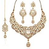 I Jewels Bollywood Kundan Necklace Set with Maang Tikka for Women K7030W (White)