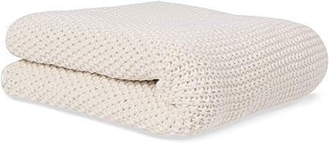Manta de punto para bebé de algodón orgánico beige 70x90 cm súper suave: Amazon.es: Bebé