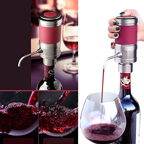Electric Wine Aerator Dispenser Pump - Portable and Automatic Bottle Breather Tap Machine - Air Decanter Diffuser System for Red and White Wine w/Unique Metal Pourer Spout - NutriChef PSLWPMP50 by NutriChef (Image #1)