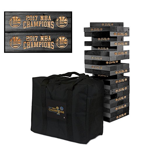 Golden State Warriors Onyx Stained Giant Wooden Tumble Tower Game 2017 NBA Champions by Victory Tailgate