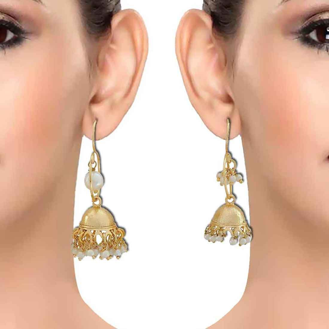 Maayra Double Jhumki Earrings White Combo Wedding Festival Jewellery