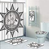Bathroom 5 Piece Set Shower Curtain 3D Print,Occult Decor,Moon Inside The Sun with Stars Alchemy Clandestine Esoteric Solar Crescent Art,Black Grey,Bath Mat,Bathroom Carpet Rug,Non-Slip,Bath Towls