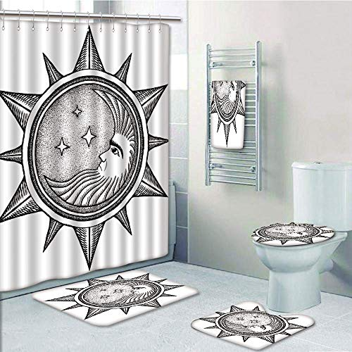 Bathroom 5 Piece Set Shower Curtain 3D Print,Occult Decor,Moon Inside The Sun with Stars Alchemy Clandestine Esoteric Solar Crescent Art,Black Grey,Bath Mat,Bathroom Carpet Rug,Non-Slip,Bath Towls by iPrint