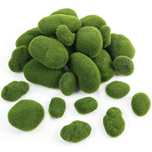 BigOtters 24 PCS Artificial Moss Rocks Decorative, 6 Size Faux Green Moss Covered Stones Green Moss Balls Fake Moss Decor for Fairy Gardens Floral Arrangements Crafting.