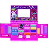 Townley Girl Universal Trolls World Tour Cosmetic Compact Set with Mirror 22 Lip glosses, 4 Body Shines, 6 Brushes Colorful Portable Foldable Make Up Beauty Kit for Girls