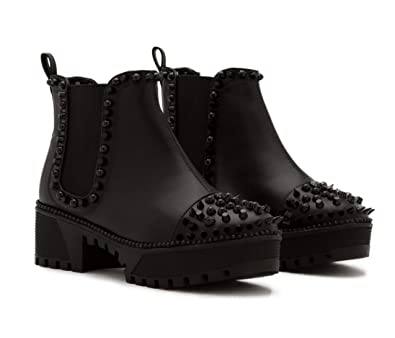 cf321d65e248 Michelle Parker Cape Robbin Spiky Rager Black Vegan Leather Black Spikes  Platform Chelsea Bootie (6