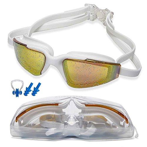 Street Tribe Swimming Goggles, Swim Goggles, Professional Swim Goggles,Triathlon Goggles,for Adult Men Women Youth Kids Child ,Anti-Leakage, Anti-Fog,Anti-UV, earplugs, nose clip(White)