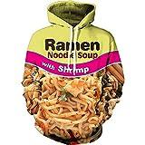 Emlyn Adrian Funny 3D Men Hoodies Ramen Noodle Pullovers Drawstring Beef Sweatshirt