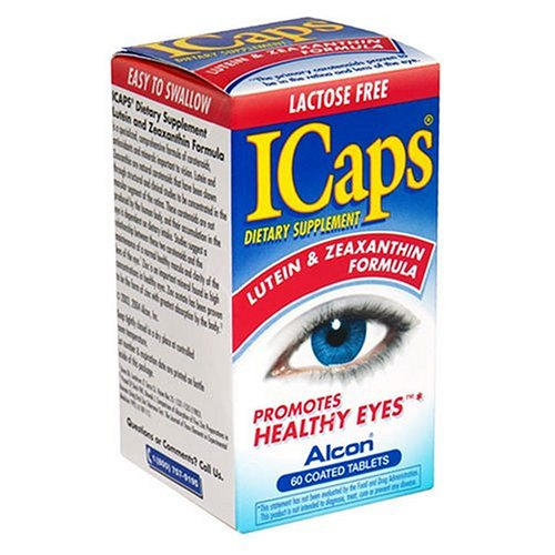 ICaps Lutein and Zeaxanthin Formula Dietary Supplement Coated Tablets, 60-Count Bottles (Pack of -
