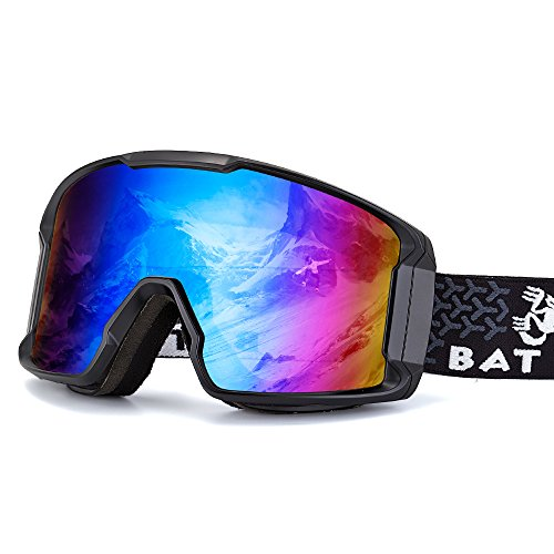 BATFOX Ski Goggles,Dual Lens Anti-fog, REVO Excellent Optical Clarity, Over Glasses for Men Women Youth,Snowboard Snowmobile Goggles Shatterproof 100% UV Protection