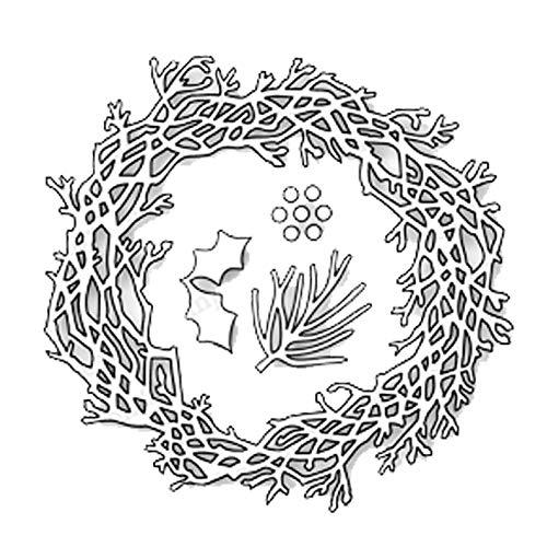 Davitu Twig Wreath Holly Leaves Metal Cutting Dies Cut DIY Scrapbook Paper Craft Card Album Embossing Stencils Template Punch (Holly Wreaths)