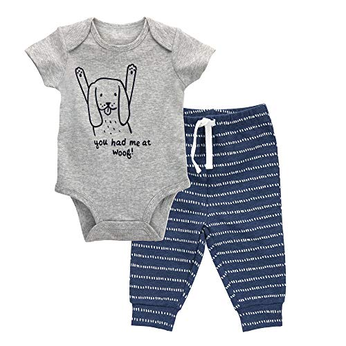 Oliver & Rain - Organic Dog Graphic Short Sleeve Bodysuit and Dash Stripe Pants Outfit Set, Heather Gray/Navy, NB