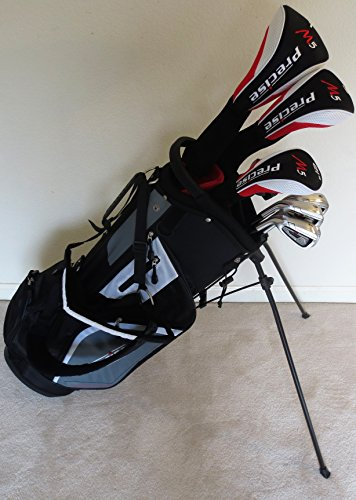 Mens Left Handed Golf Set - Complete Driver, Fairway Wood, Hybrid, Irons, Putter & Stand Bag Graphite by PrecisionPure Golf