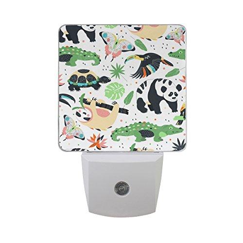 Plug-in LED Night Light Lamp Zoo Animals Printing with Dusk to Dawn Sensor for Bedroom, Bathroom, Hallway, Stairways, 0.5W-2 Pack (Baby Zoo Lamp)