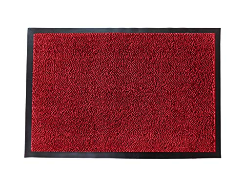 LuxUrux Durable Rubber Door Mat, Heavy Duty Doormat, Indoor Outdoor, Easy Clean, Waterproof, Low-Profile Mats for Entry, Patio, Garage, High Traffic Entrance Ways (16''x 24'', Red) (Front Red Mat Door)