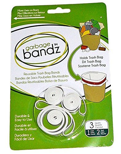 Garbage Bandz Reusable Elastic Rubber Bands For Trash Cans, 1-Pack (3 - Band Rubber Bandz