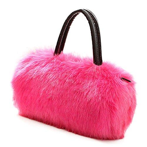 FUNOC Ladies Women's shoulder HandBag Faux Fur Clutch Tote Hobo Bag Long Purse Wallet (HotPink) (Bag Hobo Faux Fur)