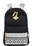 Canvas Backpack for Teens Girls Lightweight Geometry Dot Casual Daypack Fashion Travel School