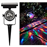 AutumnFall Courtyard Lamp,4V/80mA Solar Garden Party Lights Outdoor Landscape Path Yard Rotation Color Projection Light (Black)