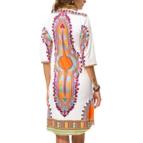 Femmes Robes Été Boho V Cou Classique À Haute Impression Élastique Mince Robes Mi-blanc