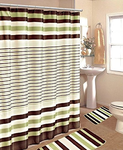 Stripe Jacquard 15 Piece Bath Rug Set Bathroom Rugs With Fabric Shower Curtain And Decorative