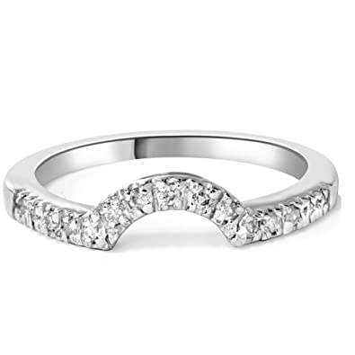 Amazoncom 25ct Stunning Curved Notched Geniune Diamond Band